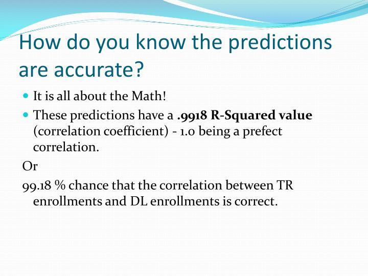 How do you know the predictions are accurate?