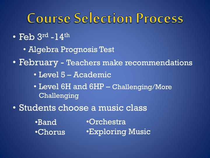 Course Selection Process