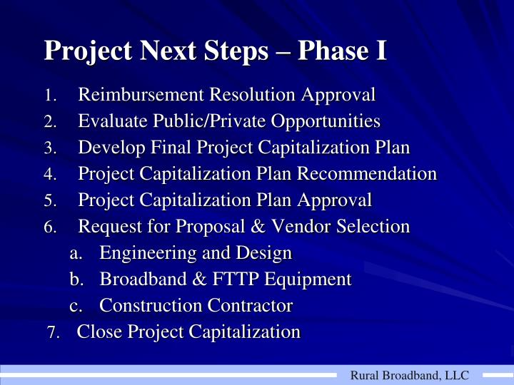 Project Next Steps – Phase I