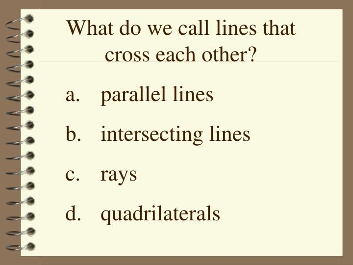 What do we call lines that cross each other?