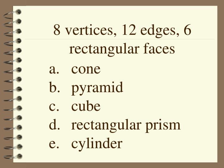8 vertices, 12 edges, 6 rectangular faces