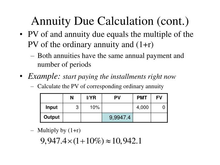 Annuity Due Calculation (cont.)