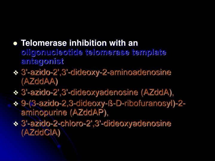 Telomerase inhibition with an