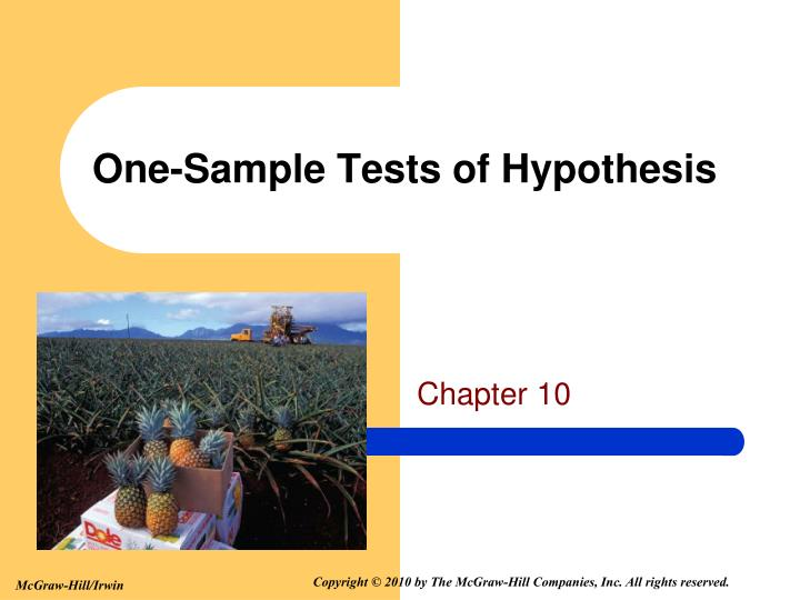 One sample tests of hypothesis