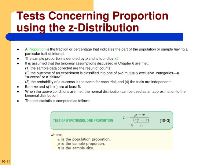 Tests Concerning Proportion using the z-Distribution