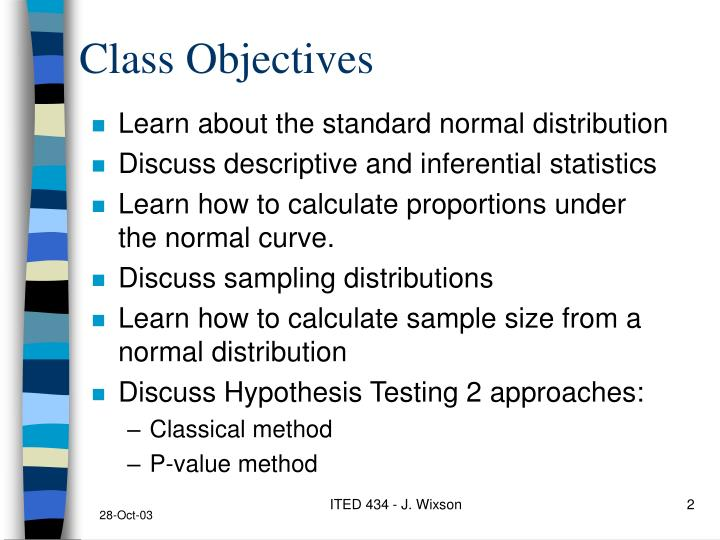 Class objectives