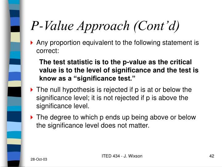 P-Value Approach (Cont'd)