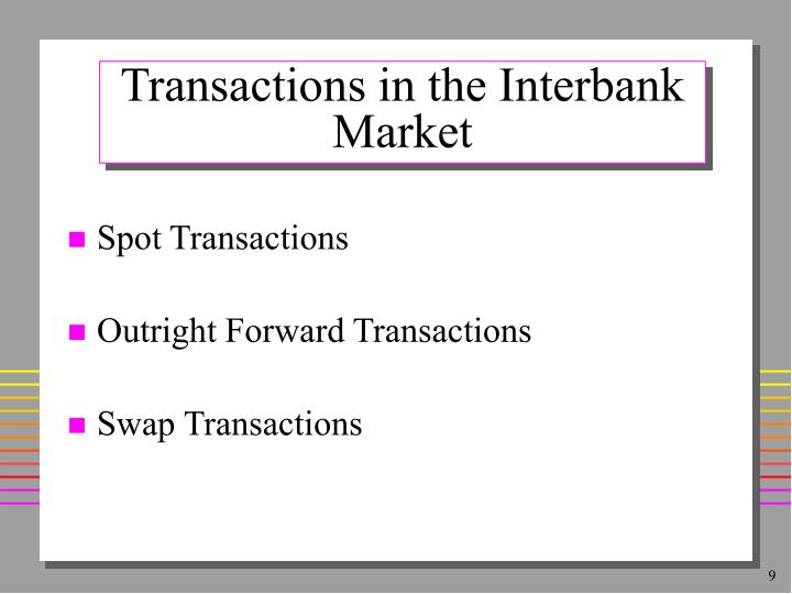 Transactions in the Interbank Market
