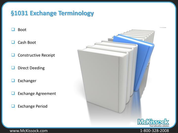 §1031 Exchange Terminology