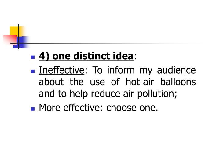4) one distinct idea