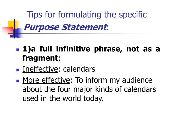 Tips for formulating the specific