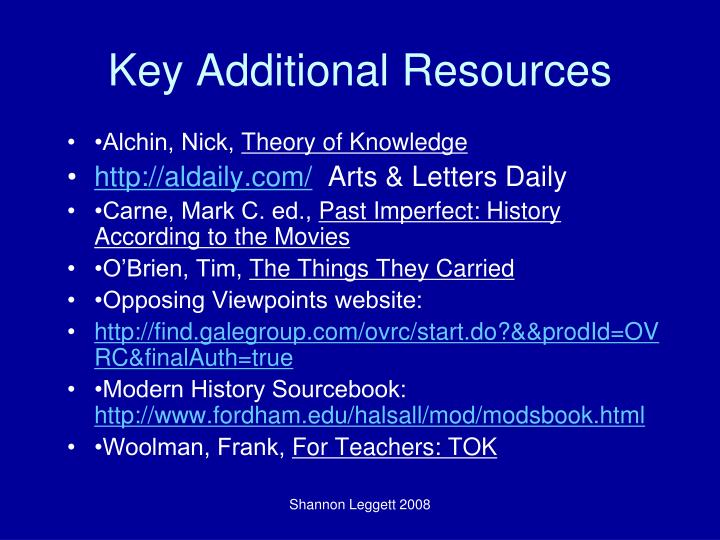 Key Additional Resources