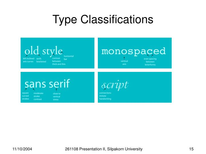 Type Classifications