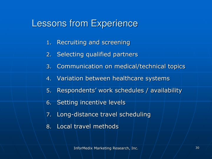 Lessons from Experience