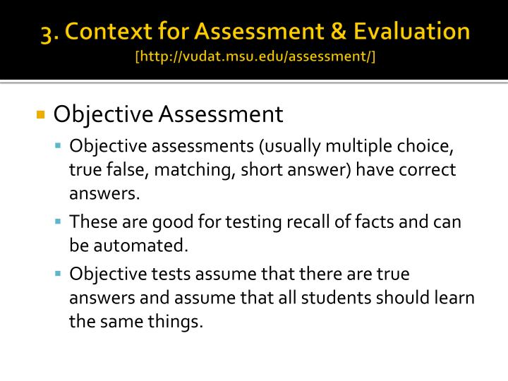 3. Context for Assessment & Evaluation