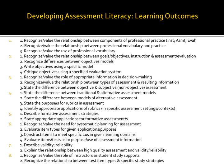 Developing assessment literacy learning outcomes