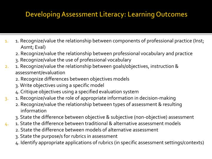 Developing assessment literacy learning outcomes1