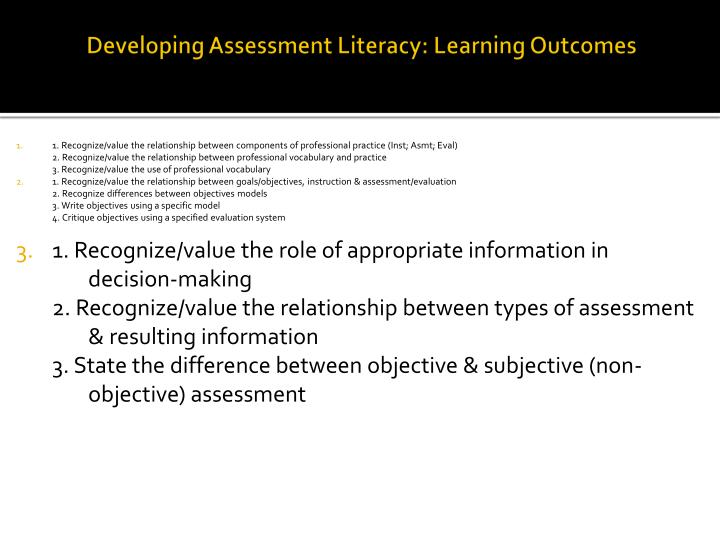 Developing Assessment Literacy: Learning Outcomes