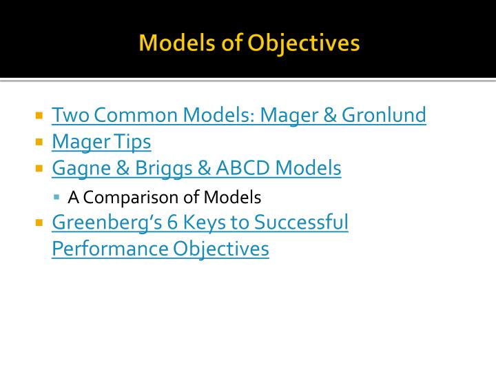 Models of Objectives