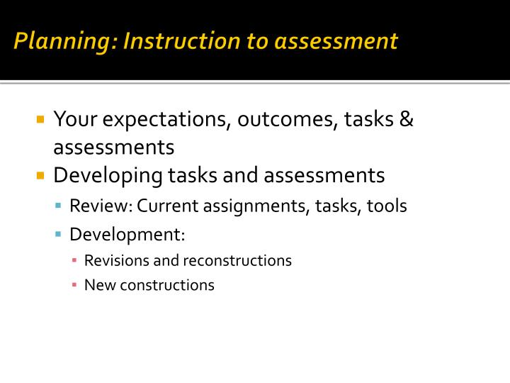 Planning: Instruction to assessment