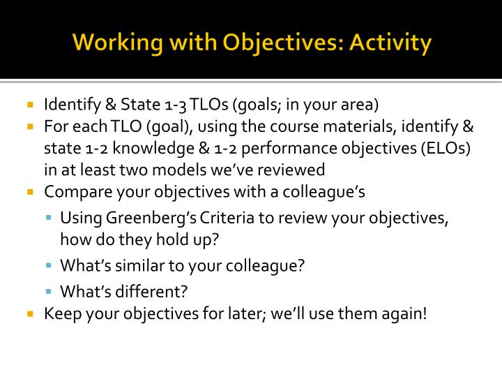 Working with Objectives: Activity