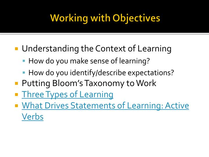 Working with Objectives