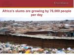 africa s slums are growing by 76 000 people per day