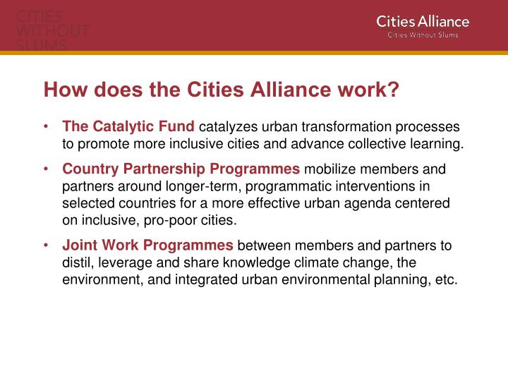 How does the Cities Alliance work?