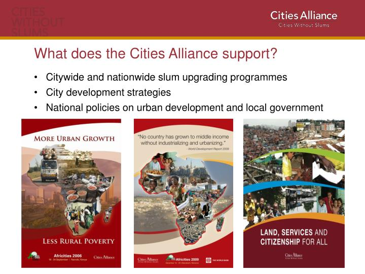 What does the Cities Alliance support?