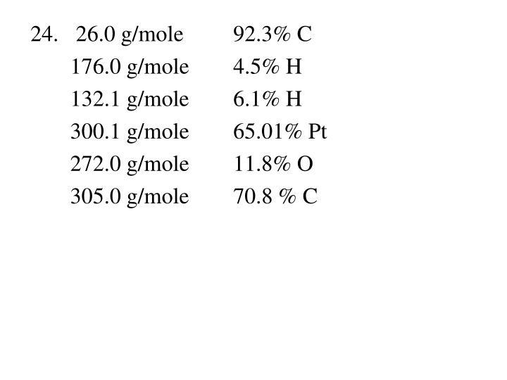 24.   26.0 g/mole92.3% C