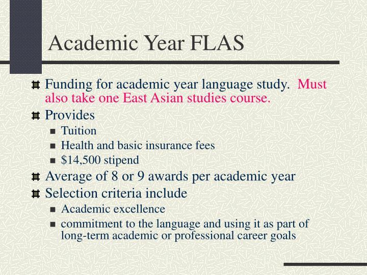 Academic Year FLAS