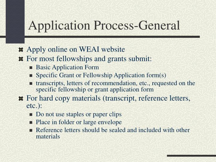Application Process-General