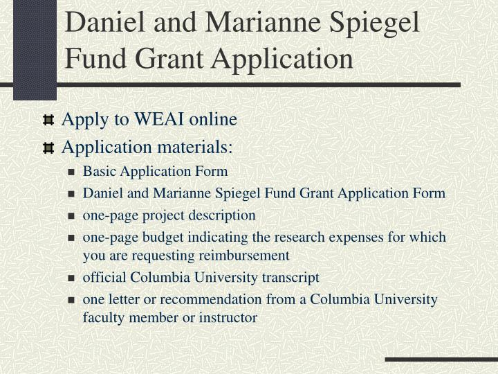Daniel and Marianne Spiegel Fund Grant Application