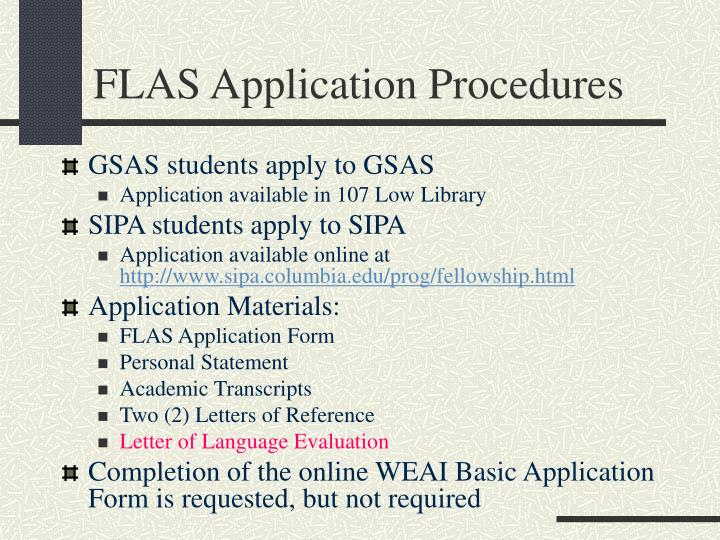 FLAS Application Procedures