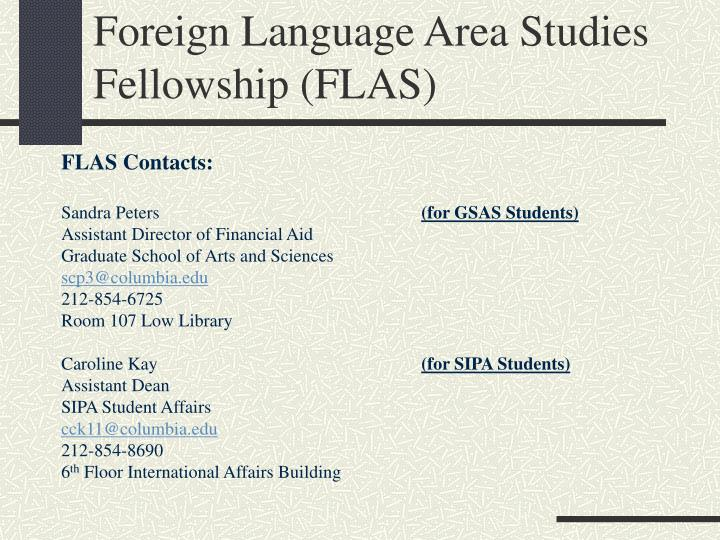 Foreign Language Area Studies Fellowship (FLAS)
