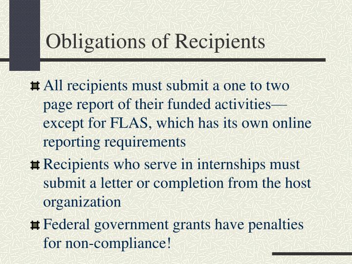 Obligations of Recipients