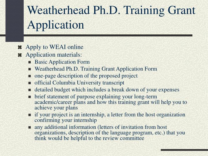 Weatherhead Ph.D. Training Grant Application