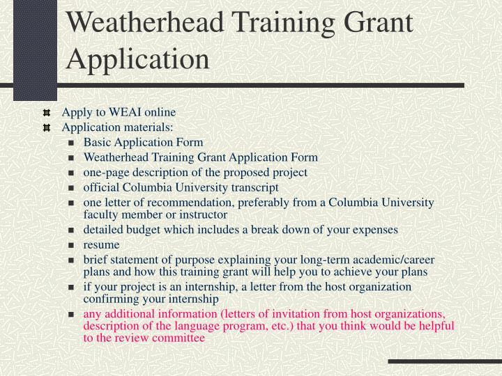 Weatherhead Training Grant Application