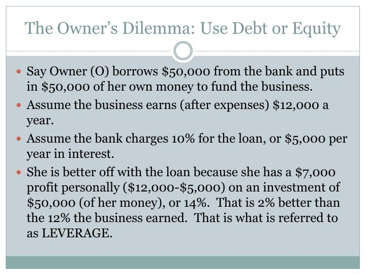 The Owner's Dilemma: Use Debt or Equity