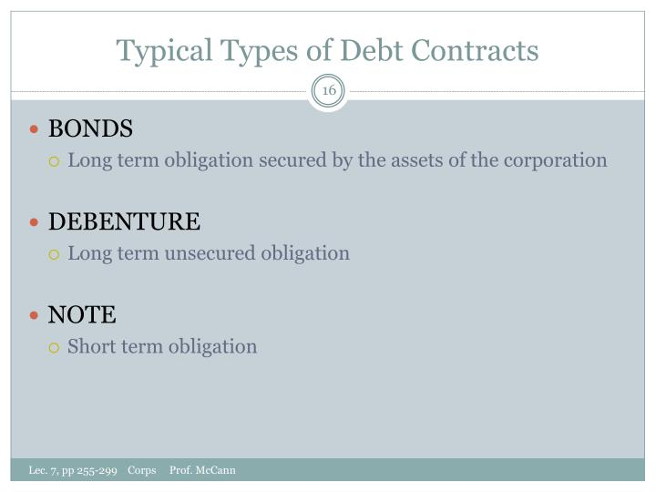 Typical Types of Debt Contracts