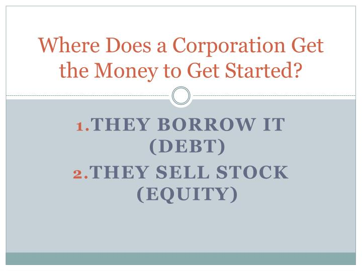 Where Does a Corporation Get the Money to Get Started?
