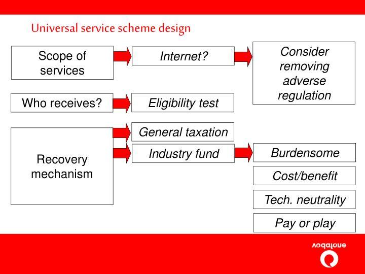 Universal service scheme design