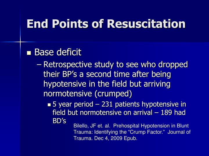 End Points of Resuscitation