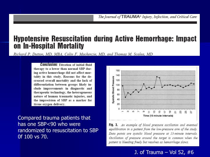 Compared trauma patients that has one SBP<90 who were randomized to resuscitation to SBP 0f 100 vs 70.