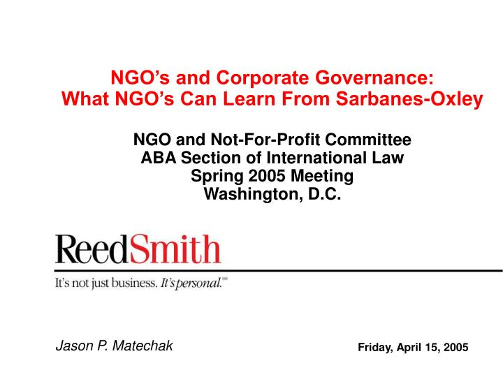 NGO's and Corporate Governance: