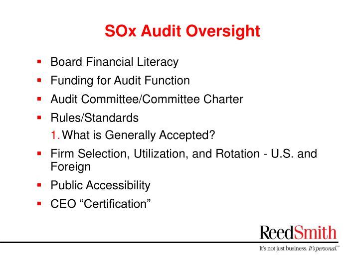 SOx Audit Oversight