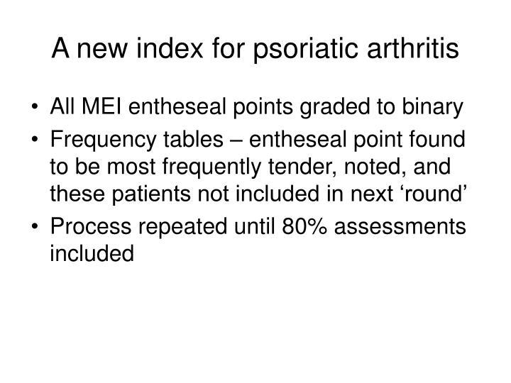 A new index for psoriatic arthritis