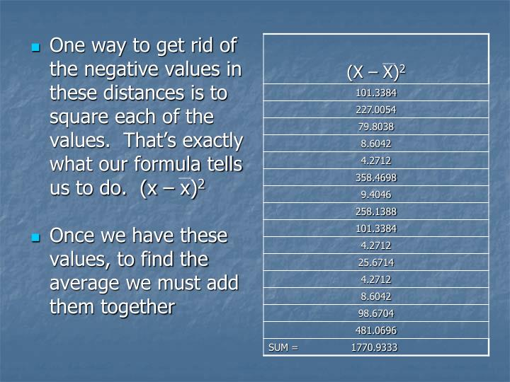 One way to get rid of the negative values in these distances is to square each of the values.  Thats exactly what our formula tells us to do.  (x  x)