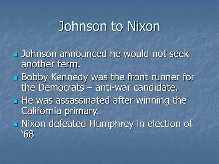 Johnson to Nixon