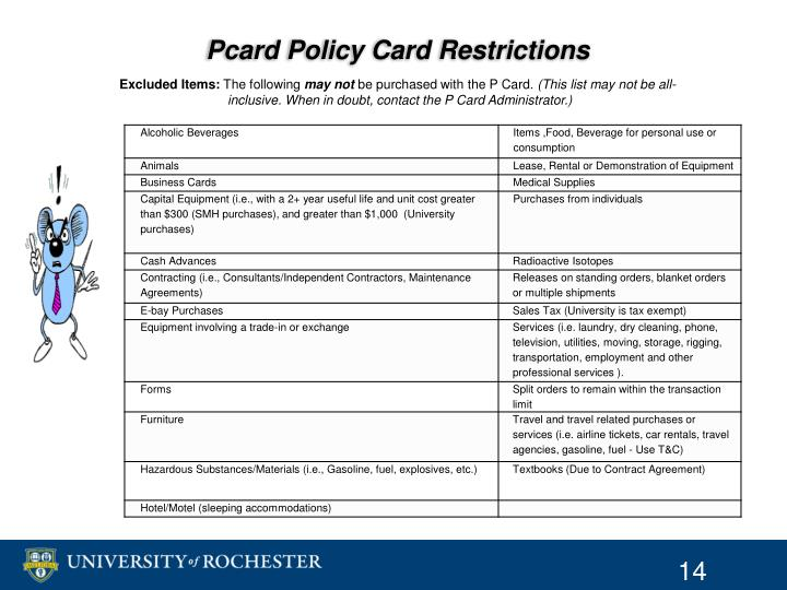 Pcard Policy Card Restrictions